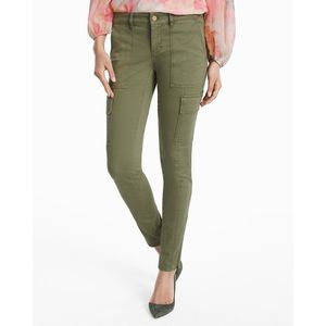 whbm cargo skinny pants w gold zippers